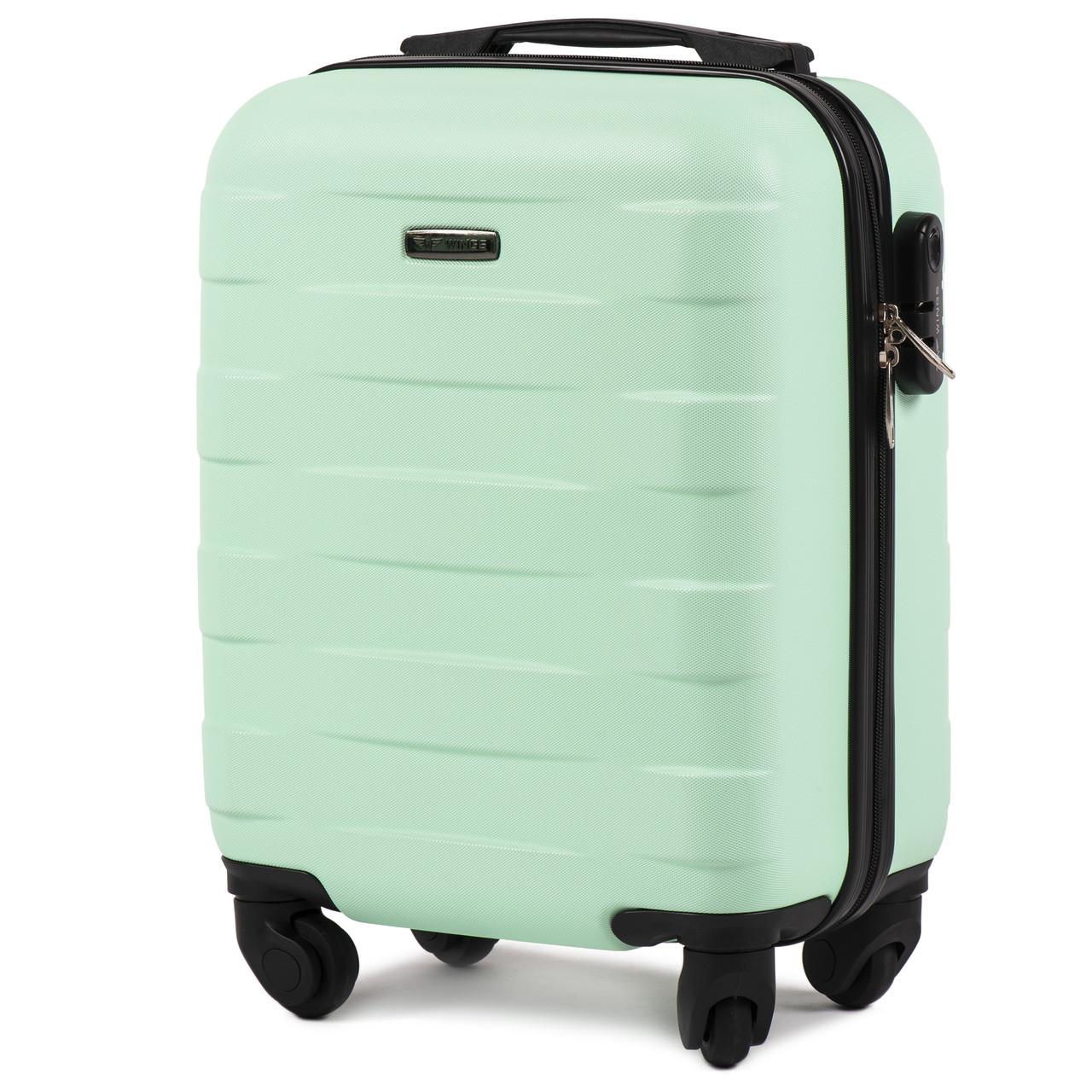 Микро пластиковый чемодан Wings 401 на 4 колесах зеленый