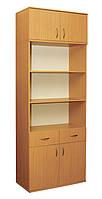 Шкаф книжный 2-дверный с 2 ящиками и антресолью (0640+0653)