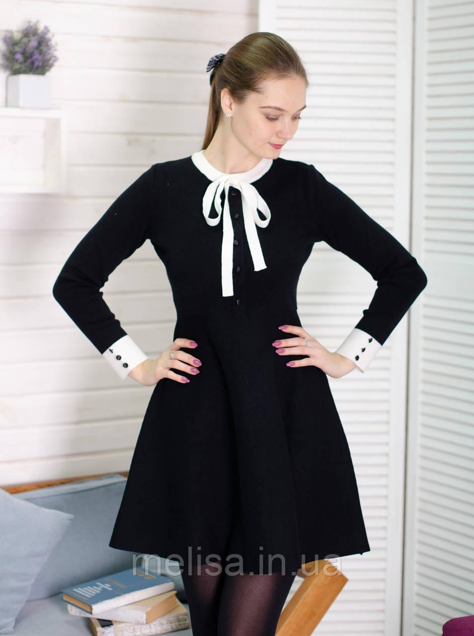 854f5b8ca46 Черное трикотажное платье с белым бантом - Интернет магазин женской одежды  Melisa в Харькове