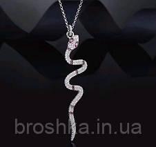 Длинная цепочка с кулоном змея ювелирная бижутерия, фото 2