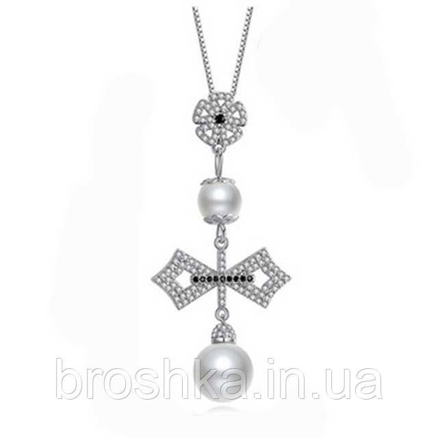 Крупный кулон крест с жемчугом ювелирная бижутерия