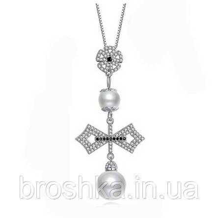 Крупный кулон крест с жемчугом ювелирная бижутерия, фото 2