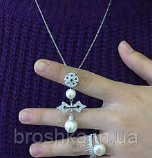 Крупный кулон крест с жемчугом ювелирная бижутерия, фото 3