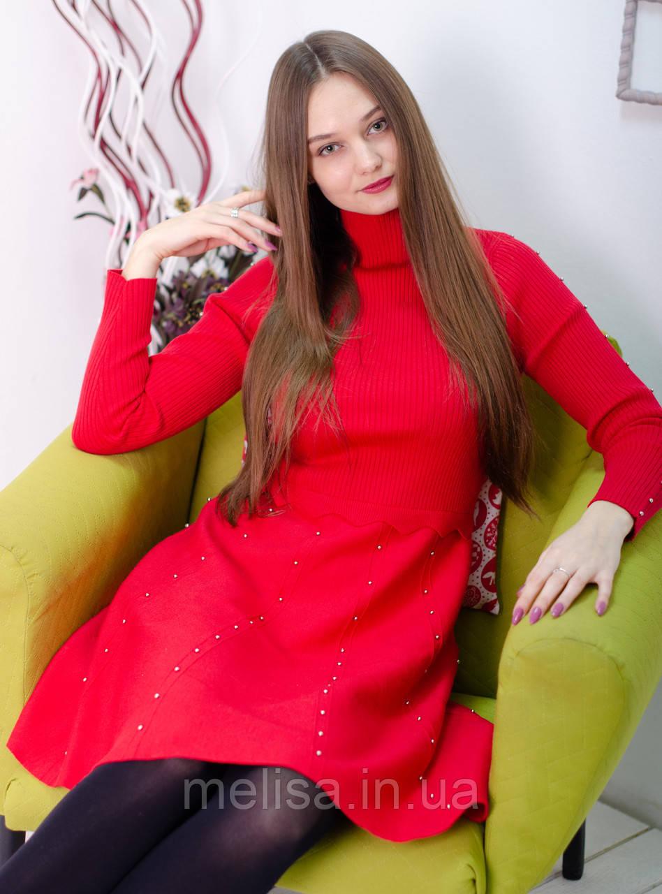 26e231da5ac Красное трикотажное платье с металлическими бусинами - Интернет магазин  женской одежды Melisa в Харькове