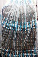 Тюль(гардина) из фатина с голубой вышивкой Высота 2. 8 м, фото 1