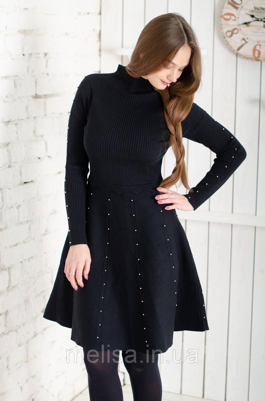 18db1b02fec Купить Черное трикотажное платье с металлическими бусинами в Украине ...