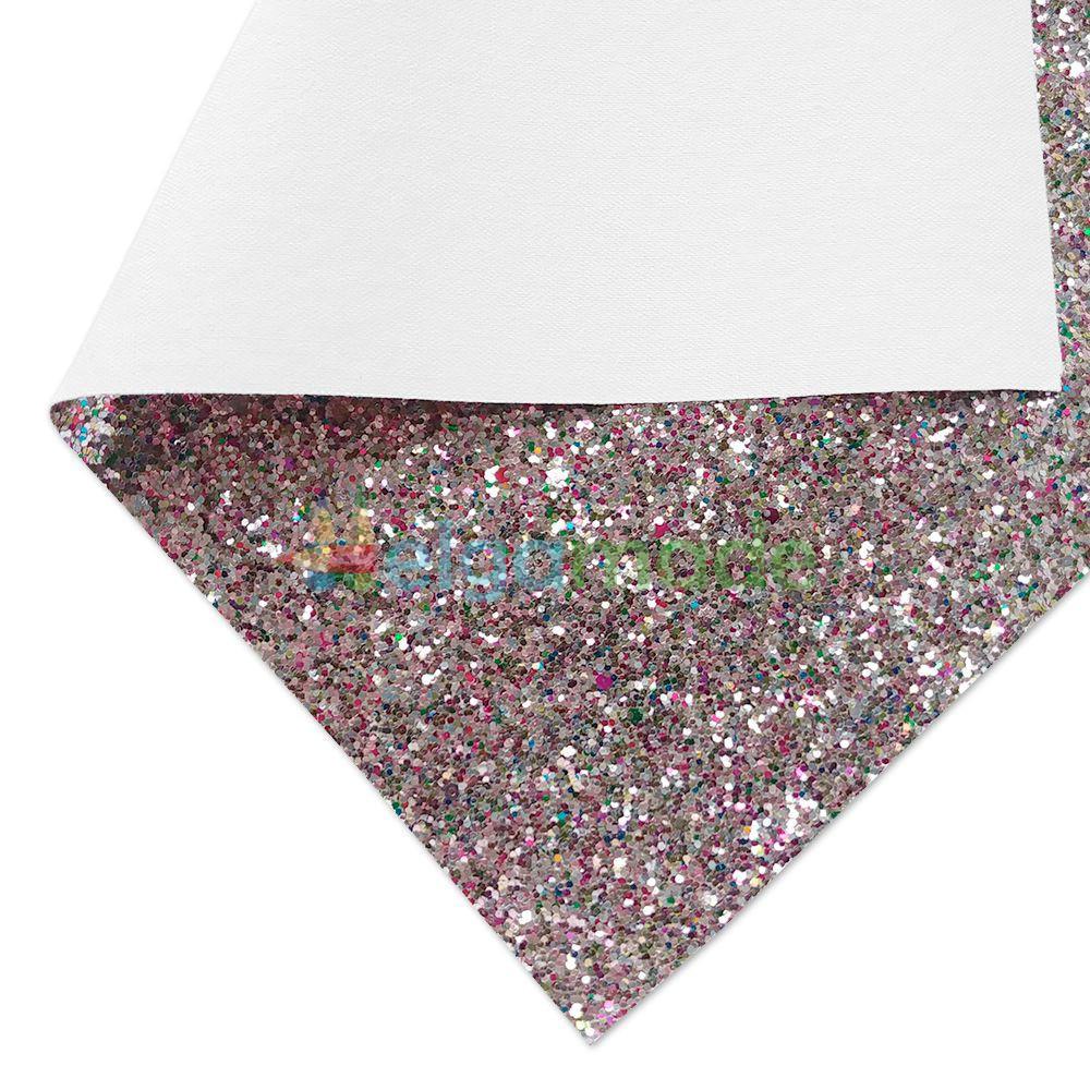 Кожзам с крупными блестками ЗОЛОТИСТО-КРАСНЫЙ микс, 20х30 см, Китай