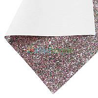 Кожзам с крупными блестками ЗОЛОТИСТО-КРАСНЫЙ микс, 20х30 см, Китай, фото 1
