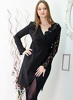 Черное комбинированное платье