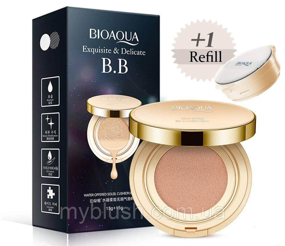 Увлажняющий Кушон Bioaqua BB Exquisite & Delicate 15g с запасным блоком + 15g №3 (Light)