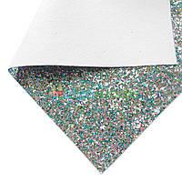 Кожзам с крупными блестками ЗЕЛЕНО-ГОЛУБОЙ микс, 20х30 см, Китай, фото 1