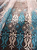 Тюль на белой фатиновой основе с голубой вышивкой Высота 2.8 м На метраж и опт, фото 1