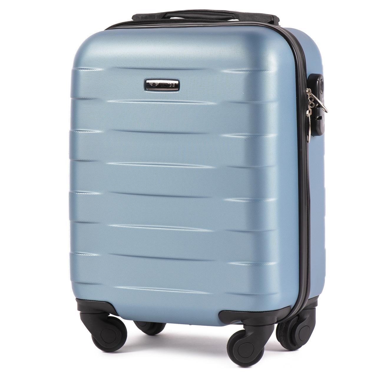 Микро пластиковый чемодан Wings 401 на 4 колесах синий, фото 1