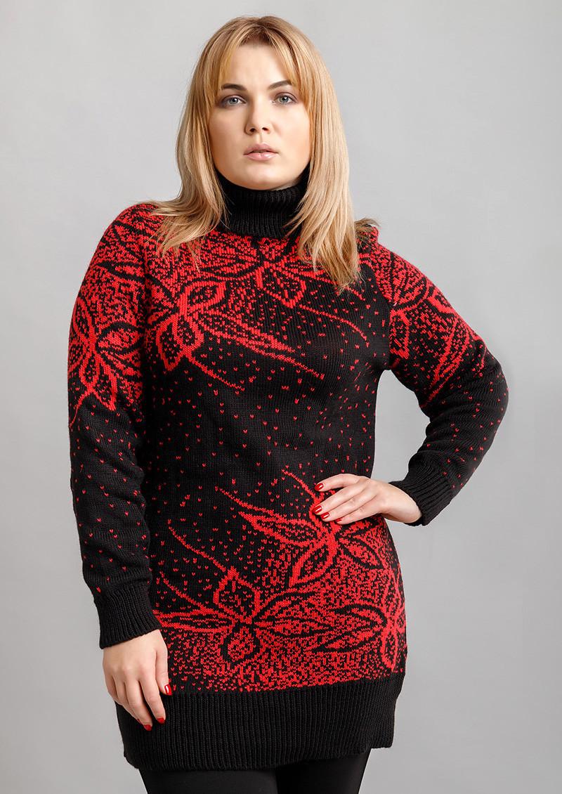 Батальный удлиненный свитер 54-58 (в расцветках)