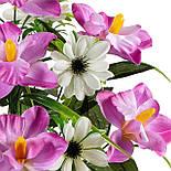 Букет искусственных орхидей и ноготков, 45см (10 шт в уп), фото 2