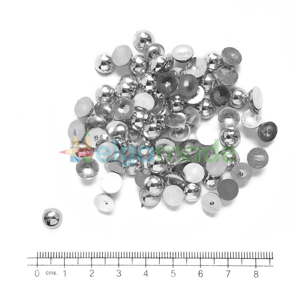 Полубусины гальваника металлик СЕРЕБРО, 8 мм, 10 г