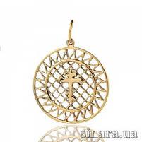 Золотой крестик-подвеска - Нежный золотой крестик в круге, фото 4