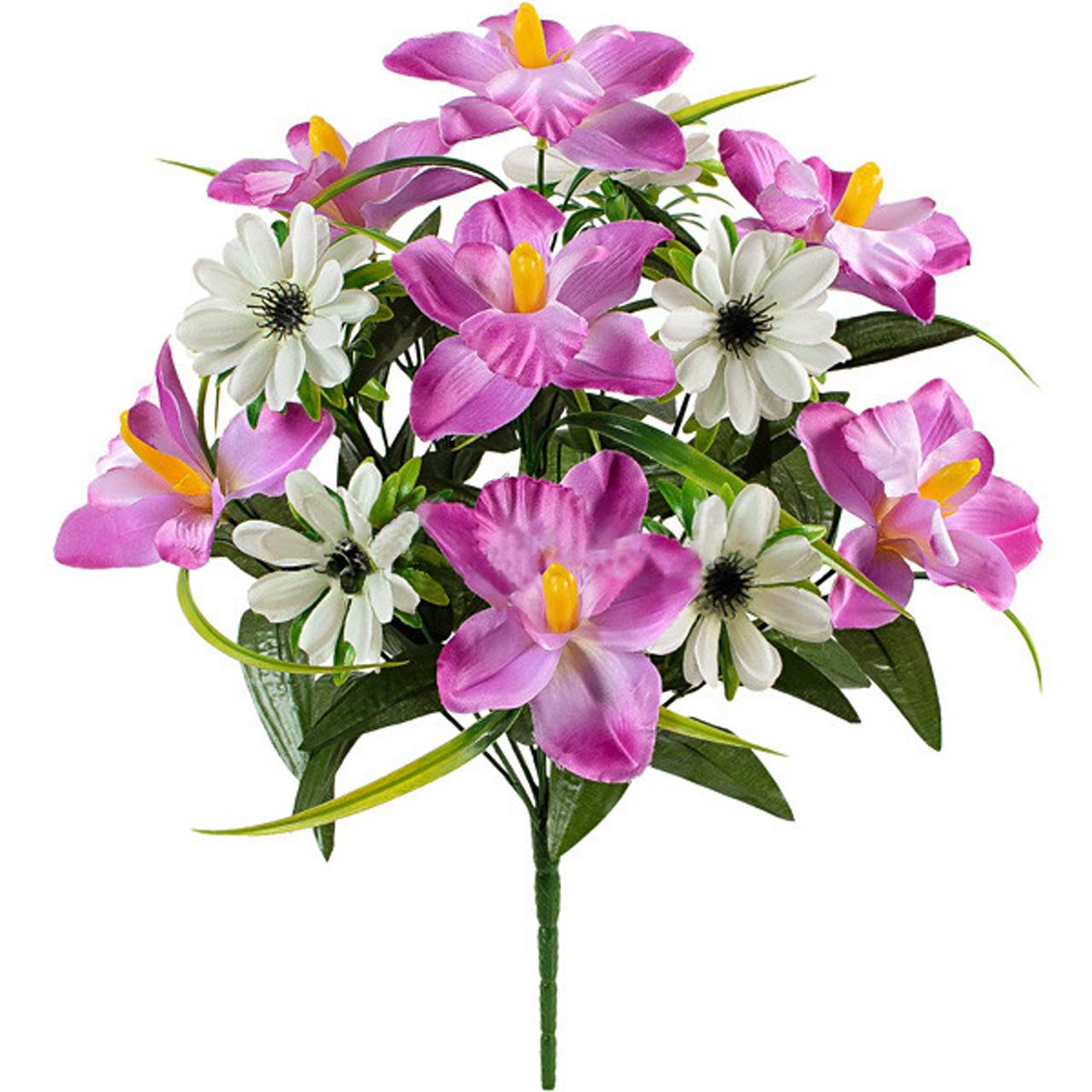 Букет искусственных орхидей и ноготков, 45см (10 шт в уп)