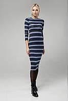 Теплое базовое платье 42-48 полоска