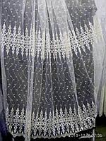 Гардина на фатиновой основе с плотной  вышивкой Высота 2.8 м На метраж и опт, фото 1