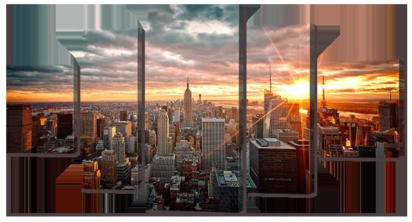 Модульная картина Interno Эко кожа Город с высока 108х57см (А748S)