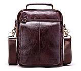Мужская сумка через плечо Натуральня кожа Барсетка Мужская кожаная сумка для документов планшет Коричневая, фото 2