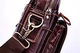 Мужская сумка через плечо Натуральня кожа Барсетка Мужская кожаная сумка для документов планшет Коричневая, фото 8