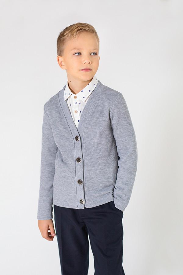 Кардиган кофта для мальчика темно-серая 5-9 лет