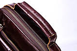 Мужская сумка через плечо Натуральня кожа Барсетка Мужская кожаная сумка для документов планшет Коричневая, фото 6
