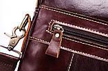 Мужская сумка через плечо Натуральня кожа Барсетка Мужская кожаная сумка для документов планшет Коричневая, фото 7