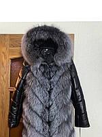 Женская чернобурка с кожаными рукавами и Капюшоном .