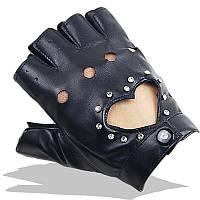 Перчатки для водителей женские красные с камушками