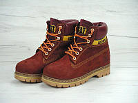 Женские ботинки Caterpillar Winter Boots c мехом (red)