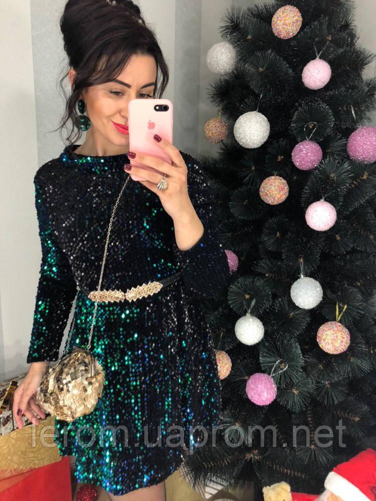 Платье нарядное  бархат с паеткой