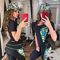 Женский костюм для фитнеса с футболкой и лосинами  мозаика