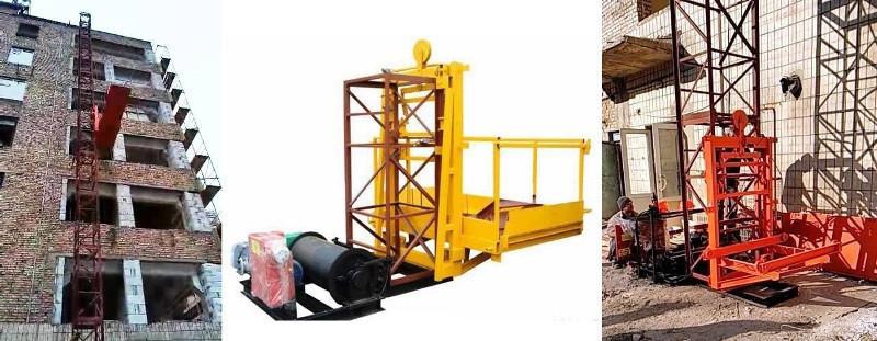 Висота підйому Н-43 метрів. Підйомники вантажні для будівельних робіт з висувною платформою на 750 кг.