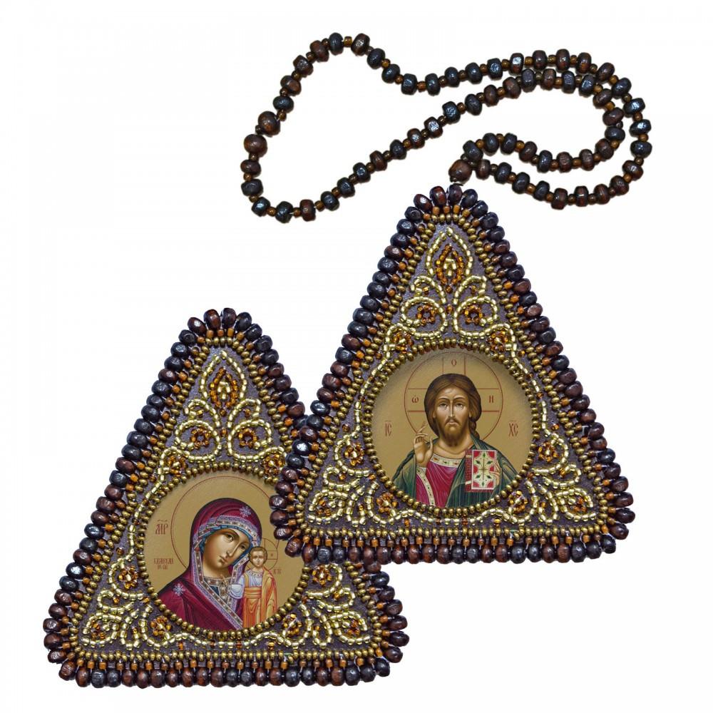"""Набір для вишивання бісером 8х8см двостороння ікона """"Христос Спаситель і Богородиця Казанська"""""""