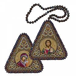 """Набор для вышивания бисером 8х8см двухсторонняя икона """"Христос Спаситель и Богородица Казанская"""""""