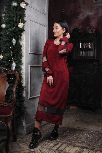 Модное женское ангоровое платье с сеткой 42-46рр.