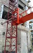 Висота підйому Н-29 метрів. Щогловий підйомник вантажний, будівельні підйомники з висувною платформою 750 кг, фото 3