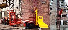 Висота підйому Н-27 метрів. Будівельний підйомник, вантажні будівельні підйомники з висувною платформою 750 кг, фото 2