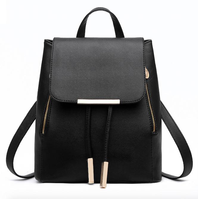Рюкзак женский кожзам на шнурке Glamur Черный
