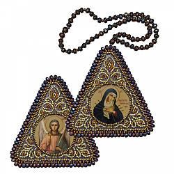 """Набор для вышивания бисером 8х8см двухсторонняя икона """"Богородица """"Умягчение злых сердец"""" и Ангел Хранитель"""""""