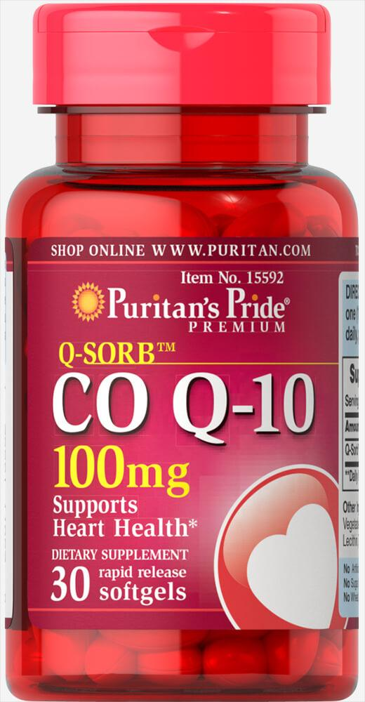 Puritan's Pride Q-SORB™ Co Q-10 100 mg, Коэнзим Q10 (30 капс.)