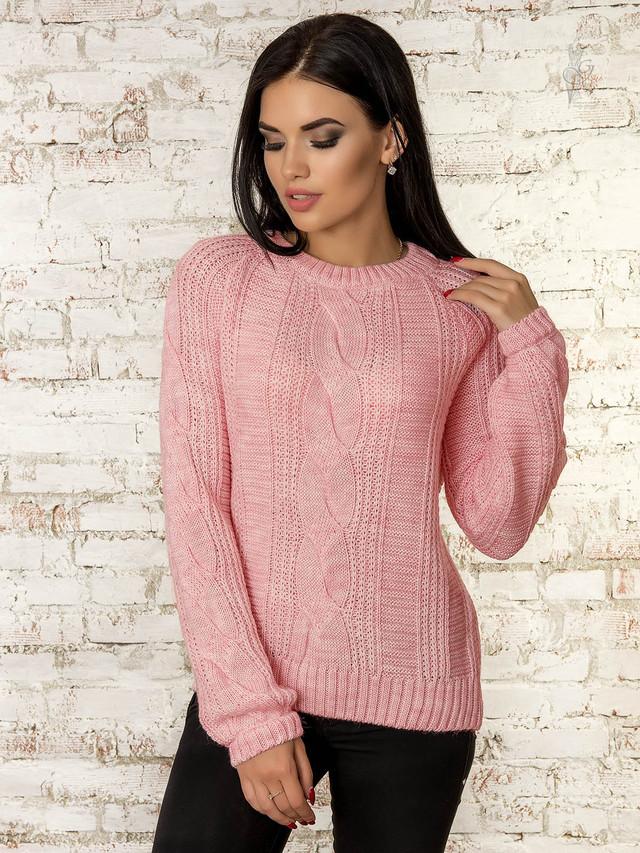 Цвет розовый Вязаного женского свитера Николь