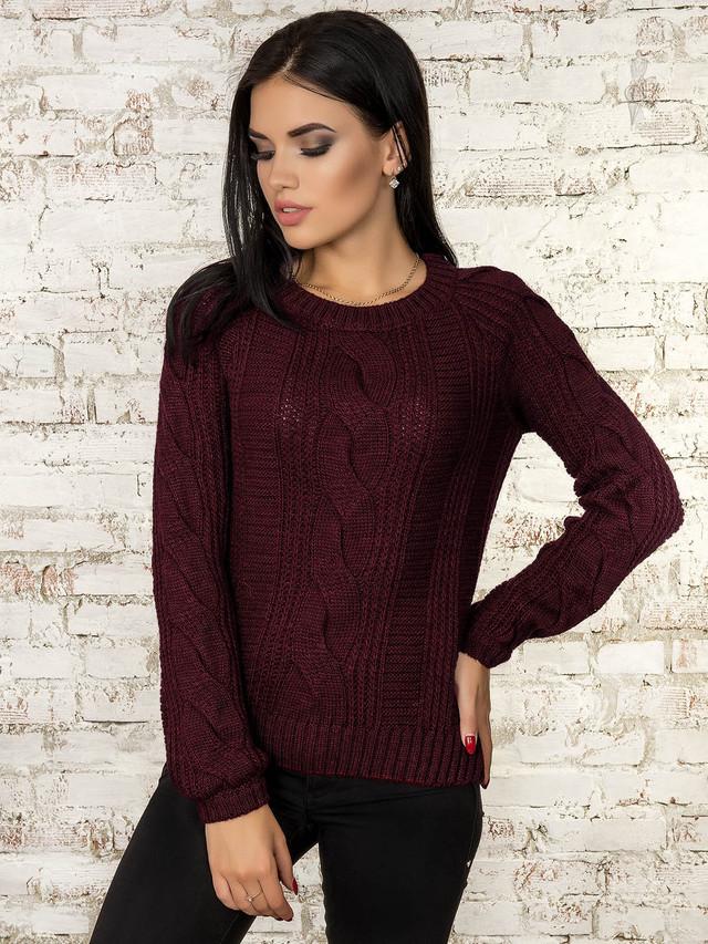 Цвет марсала Вязаного женского свитера Николь
