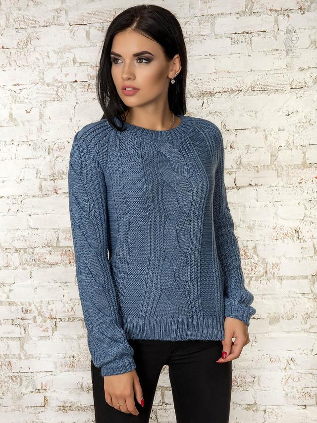 Цвет джинс Вязаного женского свитера Николь