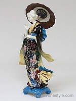 Фарфоровая cтатуэтка Девушка Гейша с зонтом  (Pavone)