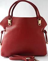 Женская сумка из натуральной кожи тёмно - вишнёвого цвета, фото 1