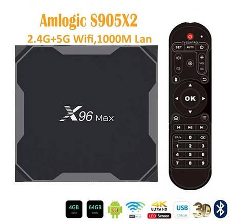 TV Box Smart TV X96 Max 4\64Gb (LPDDR4) S905X2 And 8.1 НОВИНКА!, фото 2